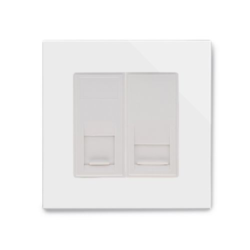 RetroTouch Dual Cat 5E/RJ11 Socket White Glass PG 00336